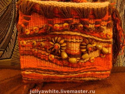 "Гардероб Ткачество ручное: Тканая сумка  ""Red "" Нитки.  Фото 1."
