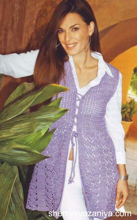 Схемы вязания женских жилетов крючком.