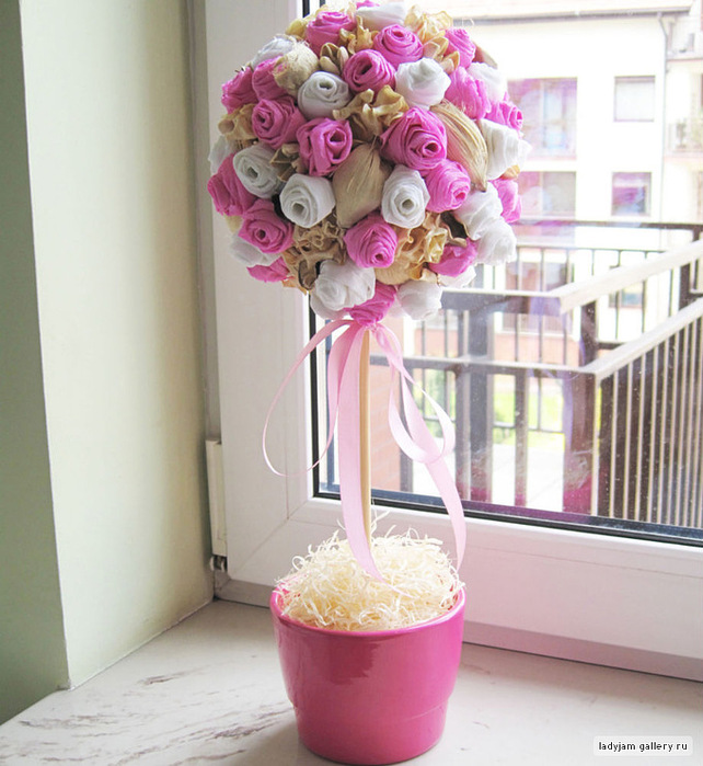 Дерево цветы из гофрированной бумаги своими руками