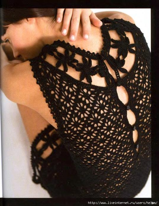 Теги. вязание. платья.  Летнее платье крючком из Phildar с переводом.  Два варианта-белое и черное платье!