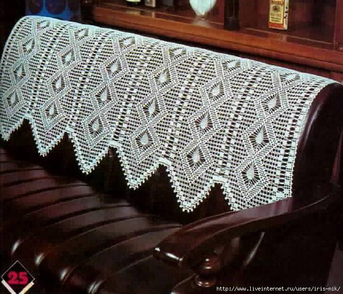 Вязание крючком накидки на диваны 113