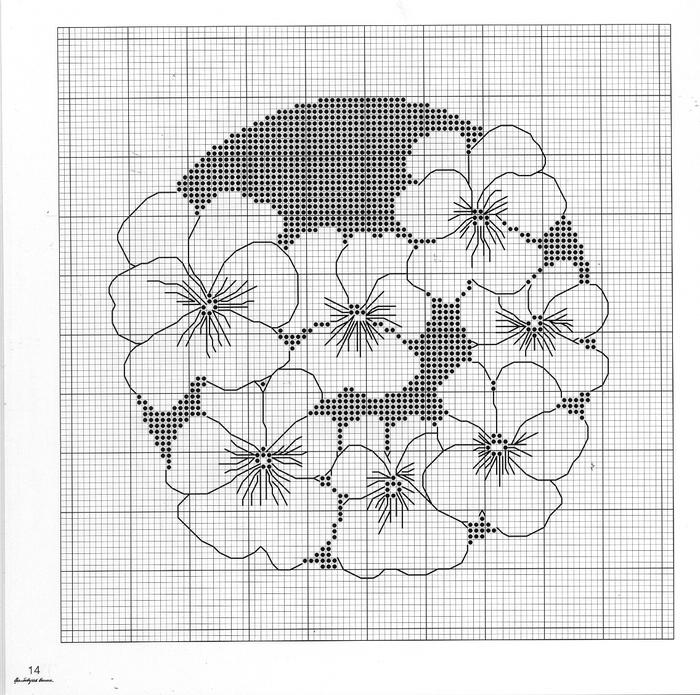 Схемы для вышивки монохром цветы 808