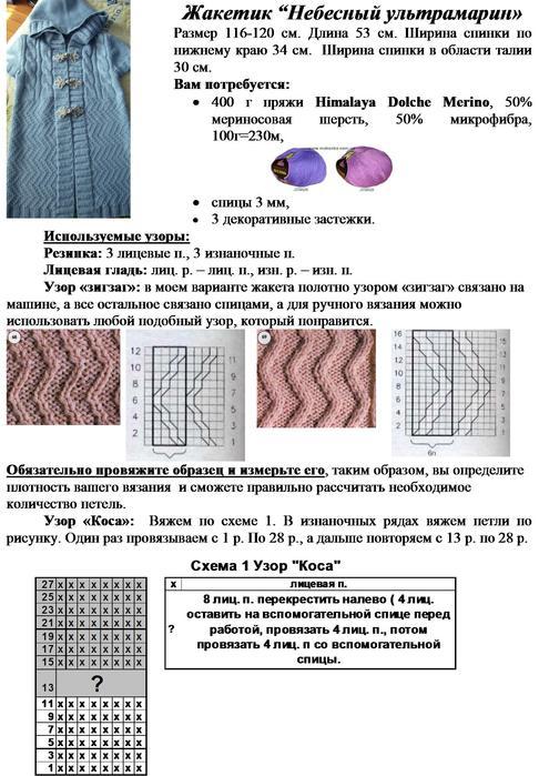Схема вязания спицами кардигана для девочки 1-2 года 51