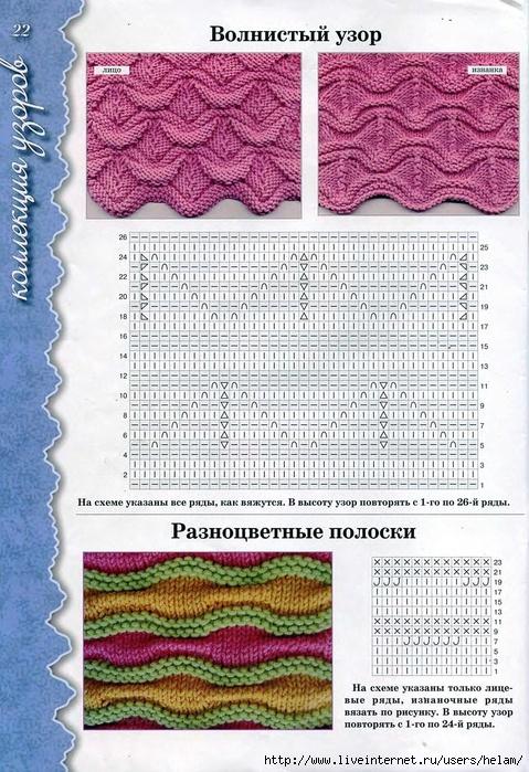 Ажурные волнистые узоры для вязания спицами с описанием и схемами 66