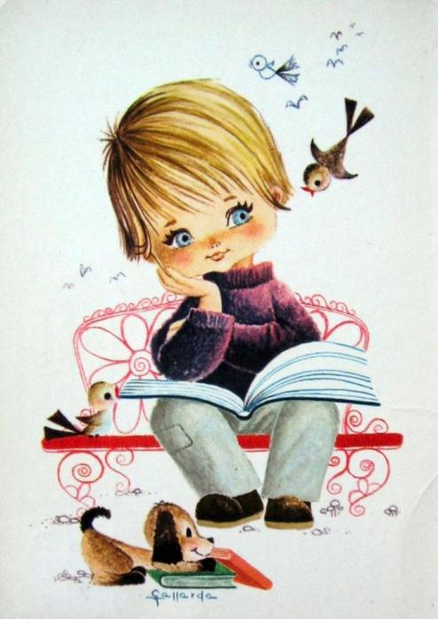 Винтажная открытка для мальчика
