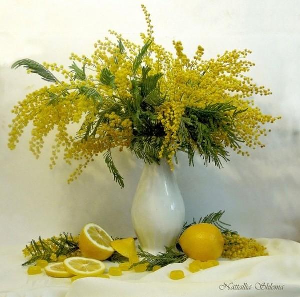 """Схема вышивки  """"Мимоза и лимоны """" ."""
