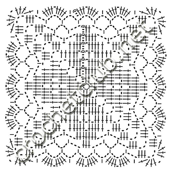 Используя разноцветную пряжу, свяжите по схеме квадратные мотивы, соединяя их между собой в последнем ряду.