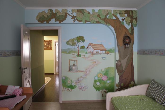 Фото рисунки на стенах в детской комнате своими руками фото