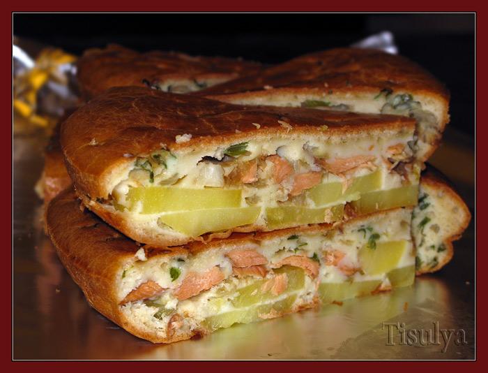 Пирог с рыбой и картошкой рецепт с из дрожжевого теста