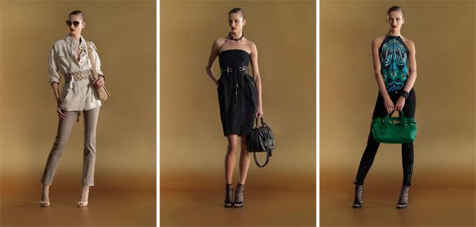 """...из изюминок этой коллекции стали  """"золотые """" аксессуары: сумки и ремни."""