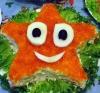 """Салат  """"Морская звезда """".  Ингредиенты: маленькая баночка красной икры..."""