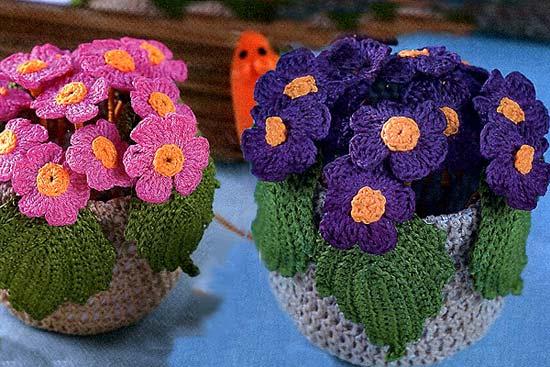 связать крючком цветок фиалки