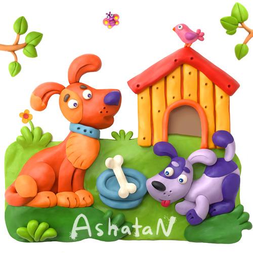 Лепка из пластилина для детей.  Пластилиновые картины Ashatan.