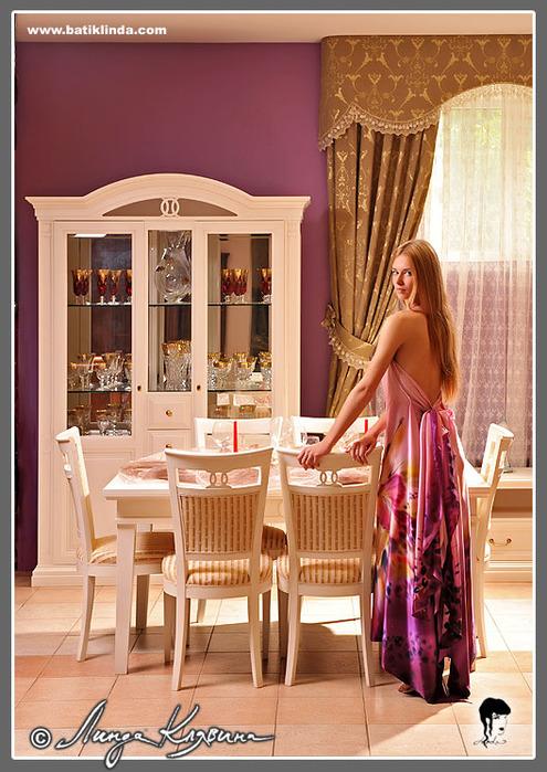 Романтическое вечернее платье.  Материал - атлас (шёлк 100%, плотность...
