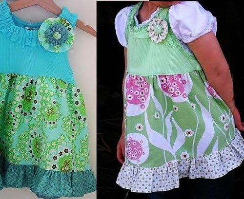 Recycling old t shirt to baby dress crafts ideas for Craft ideas for old t shirts