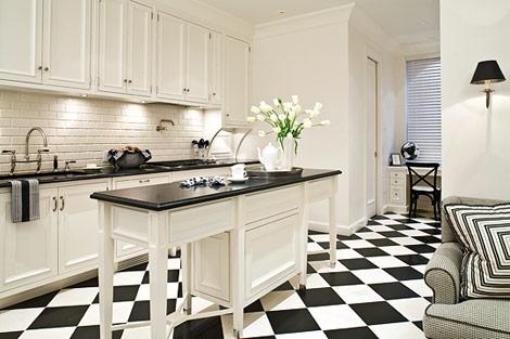 Интерьер черно-белая кухня