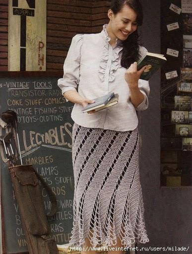 вязание юбки спицами и крючком.