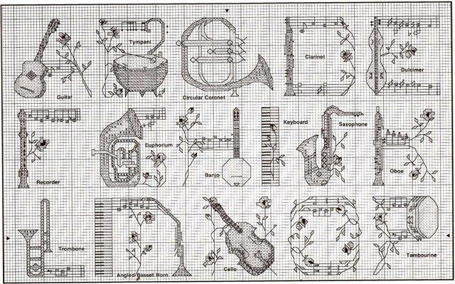 Музыкальная в вышивке схемы 273