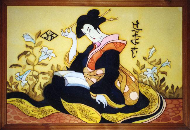 """Схема вышивки  """"Японская девушка """": таблица цветов."""
