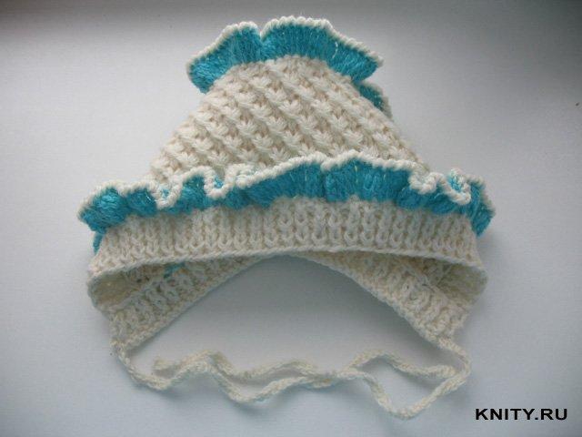 шапочка для новорожденного на спицах.