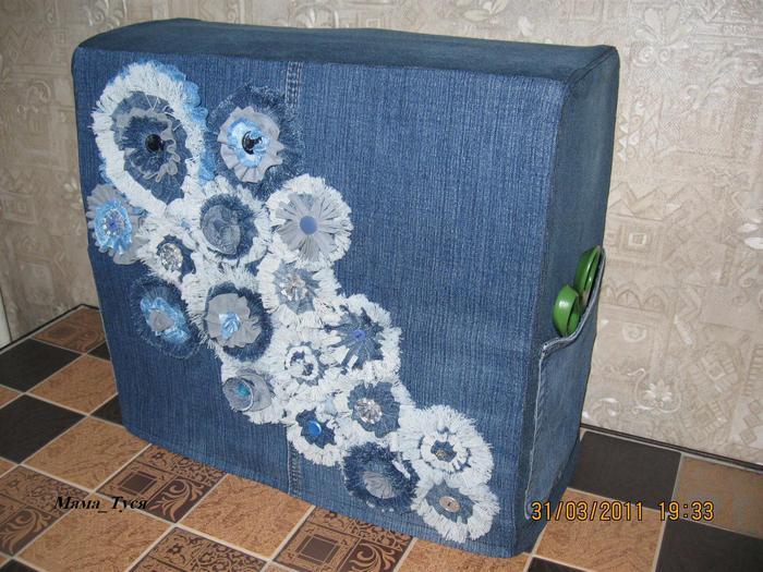 Сшить чехол для швейной машинки из старых джинсов 42