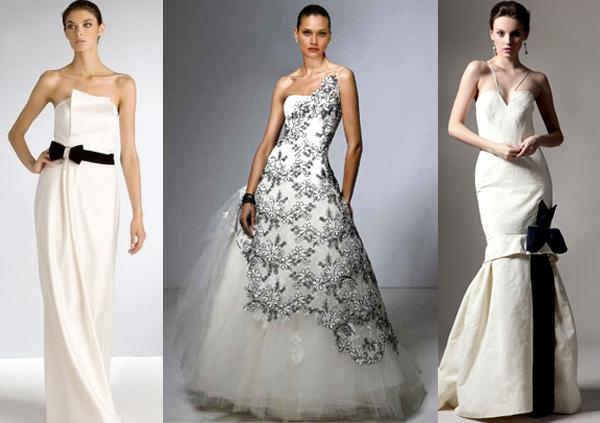 Черно белое платье на свадьбу
