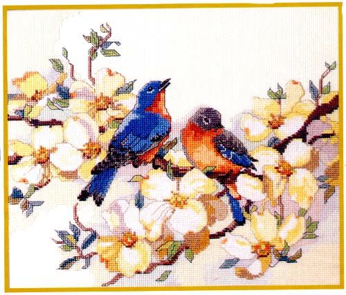 Bucilla 42737 Birds with Dogwood (500x426, 64Kb)