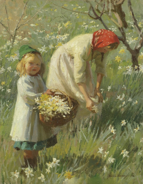 2010239_Harold_Harvey_-_Spring_in_the_orchard,_narcissus (467x600, 253Kb)