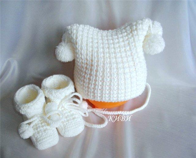 Вязание теплой шапочки для новорожденных видео