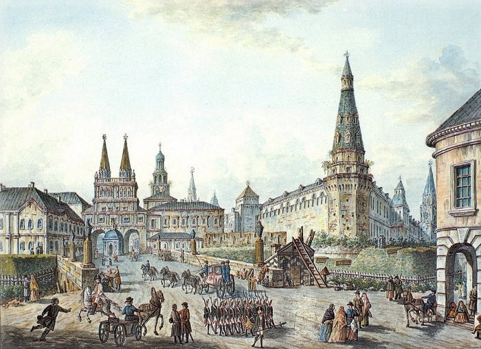 Вид на Воскресенские и Никольские ворота.1800. (700x508, 111Kb)