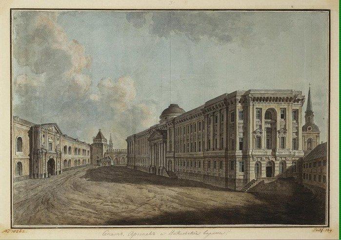 енат, Арсенал и Никольские ворота в Кремле,1800. (700x493, 91Kb)