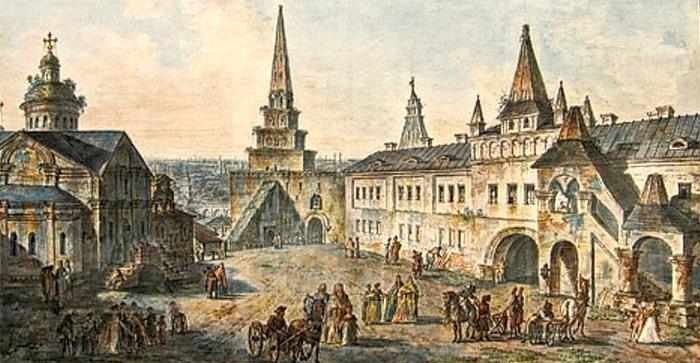 Церковь Иоанна Предтечи, Боровицкая башня и Конюшенный приказ. 1800. (700x363, 99Kb)