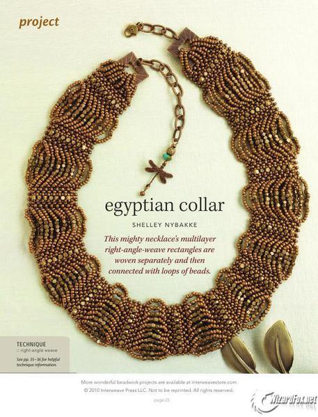 """В сегодняшней статье я хочу поделиться с вами схемой плетения. из бисера  """"Египетский воротничок """"."""