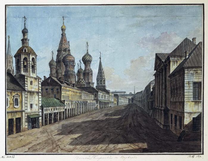Вид храма Василия Блаженного от улицы Варварка, Эрмитаж (700x542, 151Kb)
