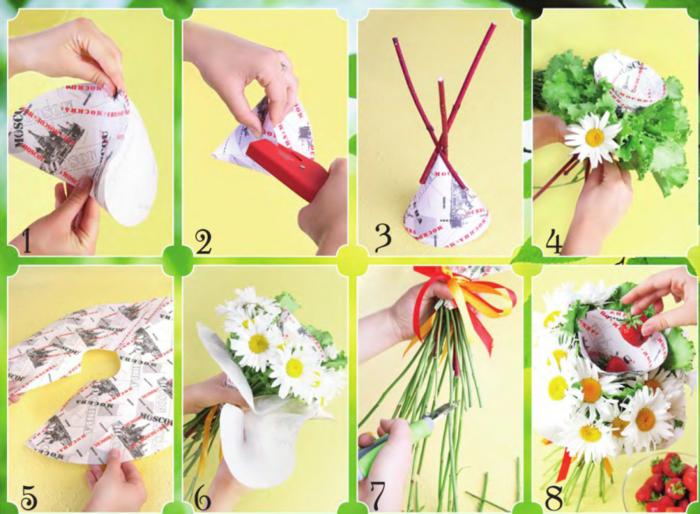 Как сделать красивый букет цветов своими руками 101