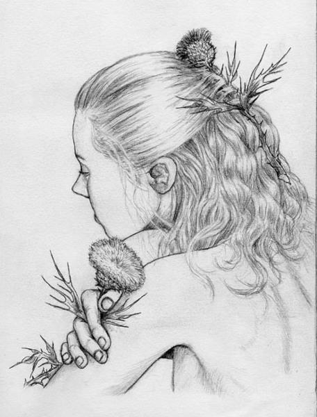 Рисунки карандашом и акварелью декор