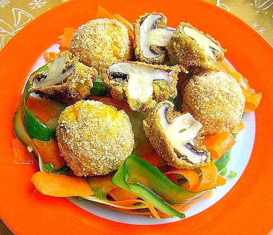mushrooms and potato balls in batter.