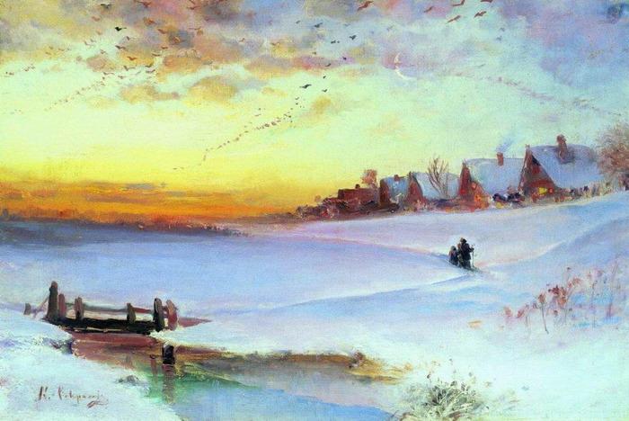 Зимний пейзаж оттепель 1890 е 700x468 118kb