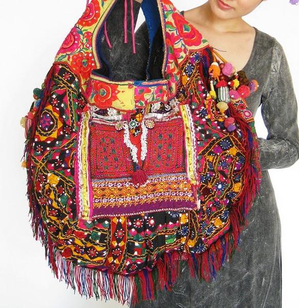 HIppie Boho Vintage Fabric Bag 6 (583x600, 165Kb)