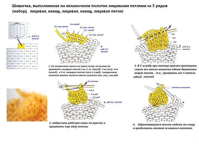 Вязание спицами шишечки схема вязания