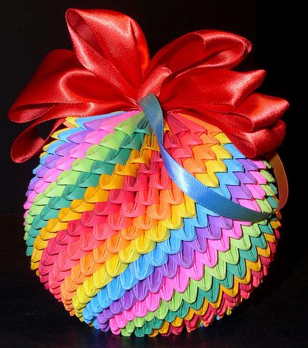 Схема вазы из модулей оригами.
