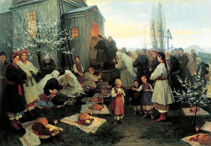 Николай Пимоненко1862.1912.Пасхальная заутреня в Малороссии189 (700x483, 441Kb)