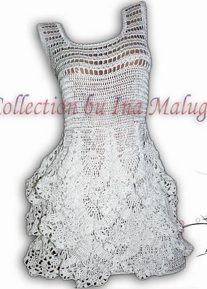 Платье крючком с воланами.