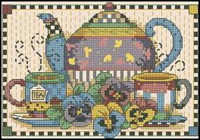 Dimensions 06877 Teatime Pansies (284x200, 42Kb)