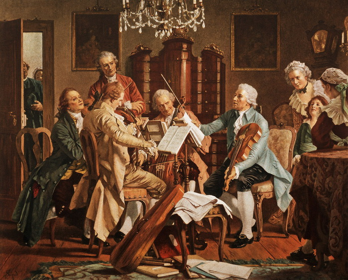 Engraving_Franz_Joseph_Haydn_Conducting_a_String_Quartet_Performing_Recreation_activities_playing_Adults_Males_b (700x563, 178Kb)