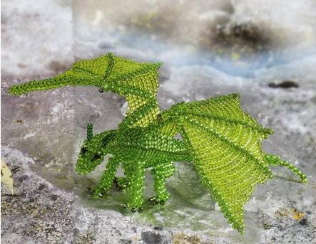 объемный дракон из бисера схема.