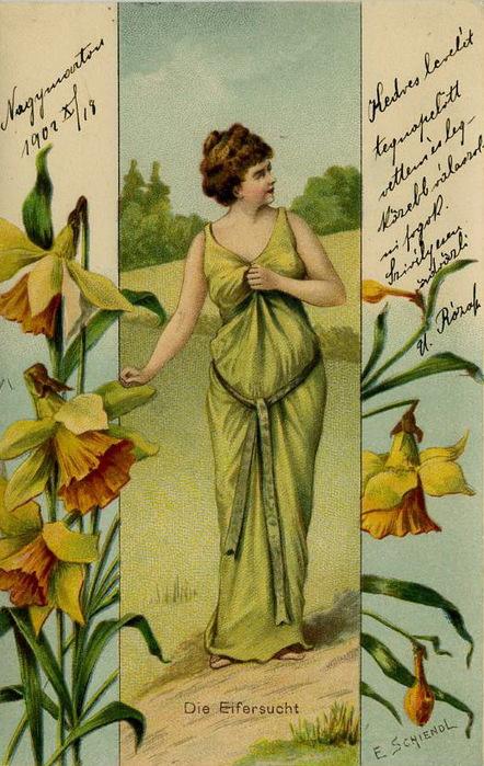 Язык цветов старинные открытки 36