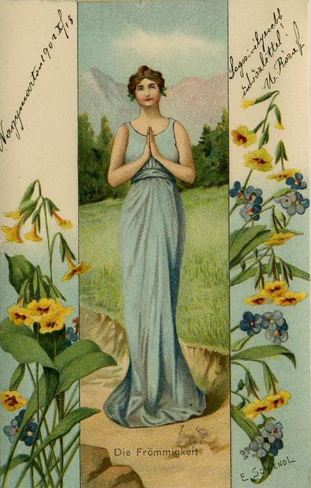 Язык цветов старинные открытки 84
