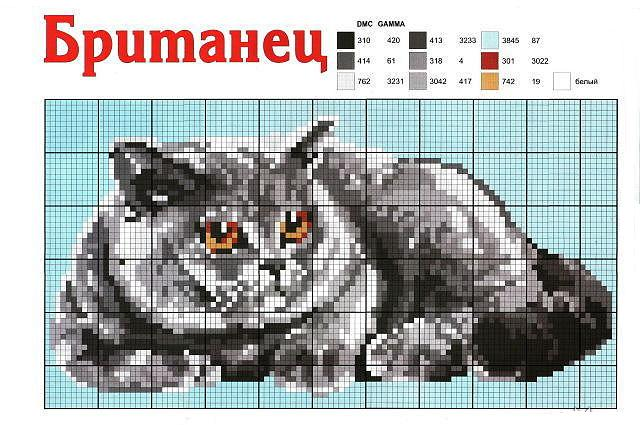 Схема вышивки крестом скачать бесплатно котенок