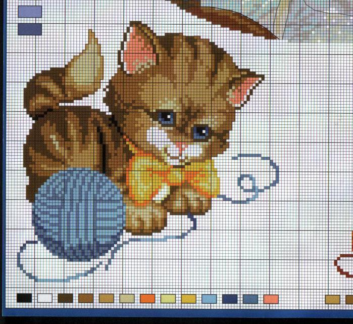 Вышивка крестиком котёнка 66